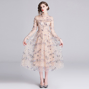Image 4 - Banulin HIGH QUALITY Newest Stylish 2019 Runway Party Dress Womens Long Sleeve Star Sequined Embroidered Gauze Mesh Dress