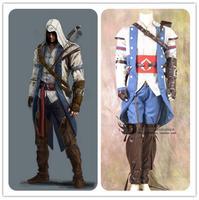 2017 индивидуальные Assassins Creed Cospaly взрослых Assassin's Creed III Коннор роль Косплэй костюм для Для мужчин