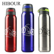 HIBOUR Termos Thermocup Vacuum Cup with Straw Thermo Mug Thermos tea Mugs Coffee Cups Stainless Steel Sport Thermos Bottle 500mL
