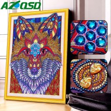 AZQSD 5D Diy Diamond Painting Wolf Picture Rhinestone Diamond Embroidery Animal Special Shape Mosaic Partial Drill Cross Stitch msr iso pro 110
