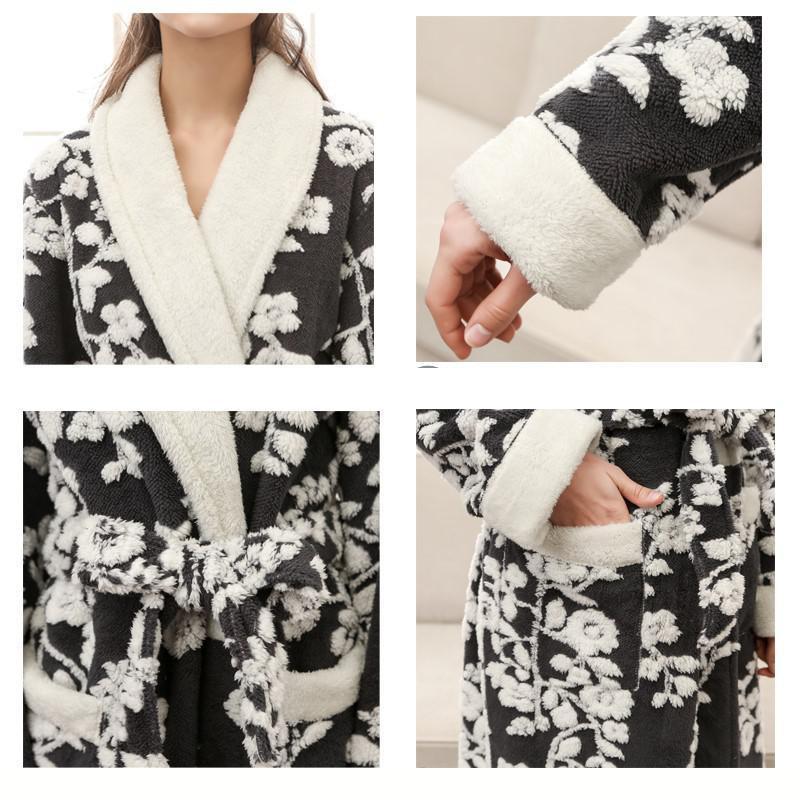 Floral Sexy femmes Kimono Robe de bain Jacquard longue Robe hiver chaud vêtements de nuit chemise décontracté flanelle chemise de nuit - 6