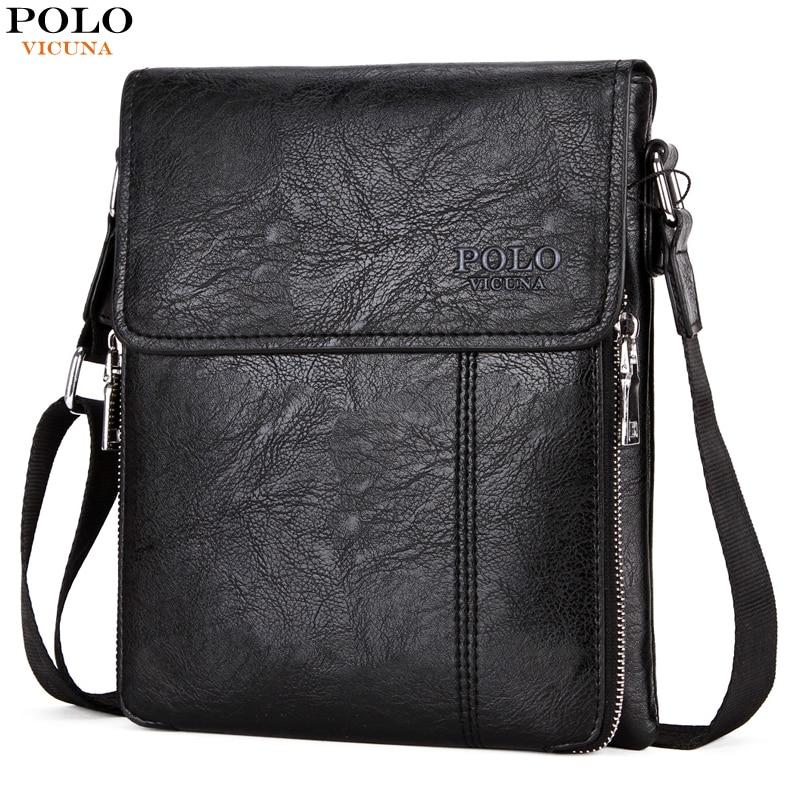 VICUNA POLO Famous Brand Double Zipper Soft Leather Men Messenger Bag Large Capacity Crossbody Men's Bags Casual Shoulder Bag