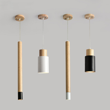 Nordic Designer Pendant Lights Wooden Dining Light Modern Hanging Lamp White Black Kitchen Lighting Fixtures Wood Lamps