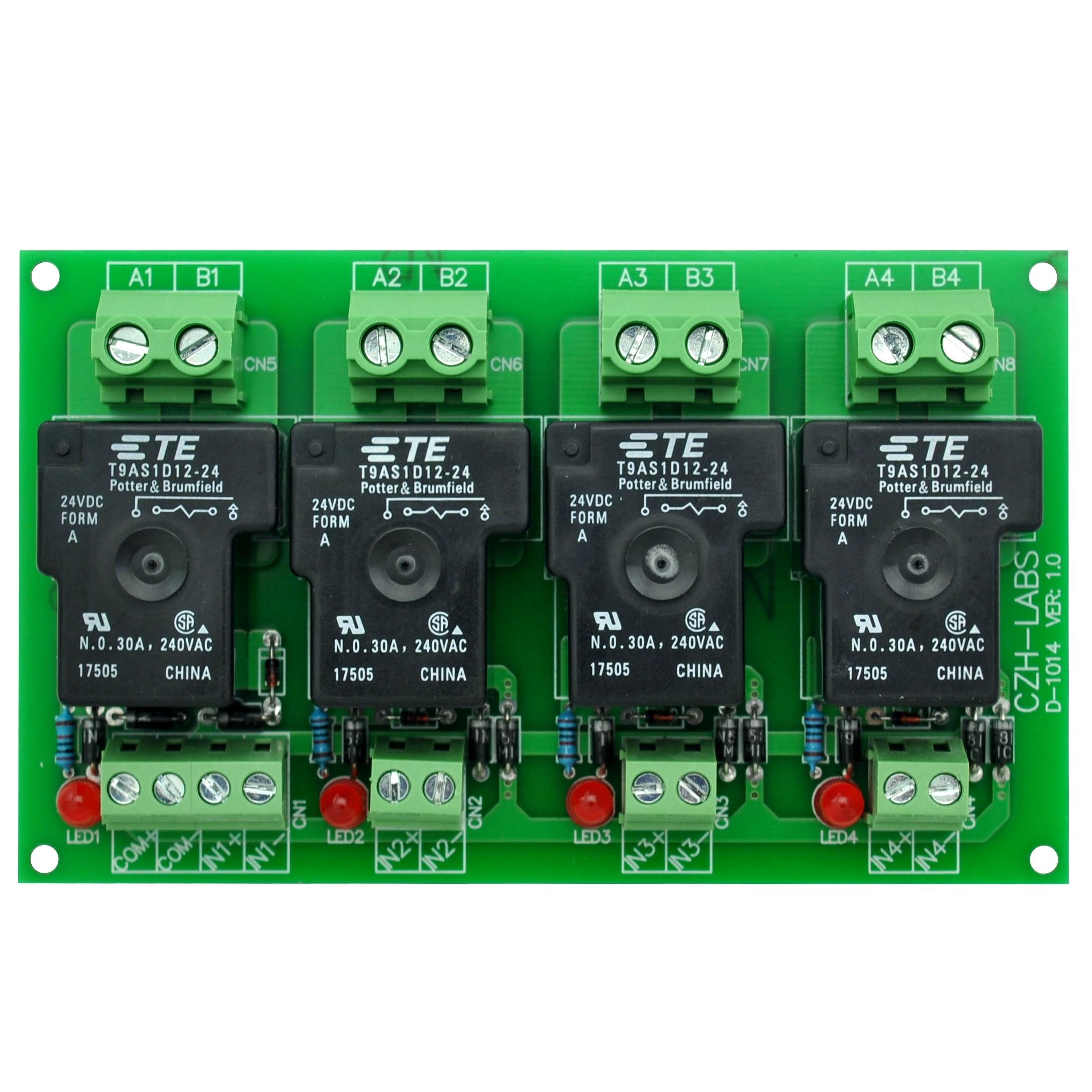 CZH-Labs 24V Passive 4 SPST-NO 30Amp Power Relay Module Board.