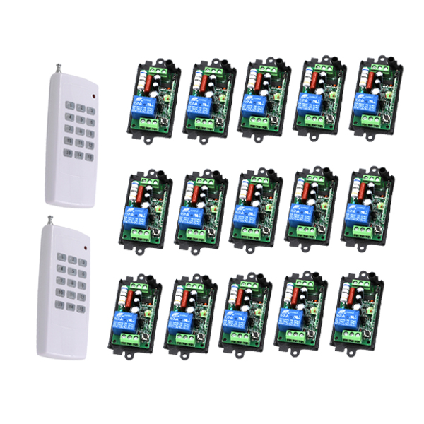 220V 10A 1CH RF Wireless Remote Control Switch (2Transmitter+15Receiverr) Radio Controller 315/433MZH Momentary/Toggle SKU: 5452 new rf wireless switch wireless remote control system 2transmitter 12receiver 1ch toggle momentary latched learning code 315 433
