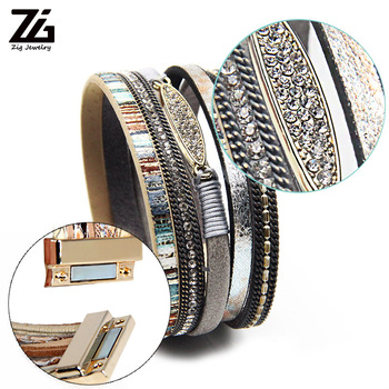 ZG Fashion Women Leather Bracelet Rhinestone Bar Charm Bohemian Leather Female Bracelets in 7 Colors 3