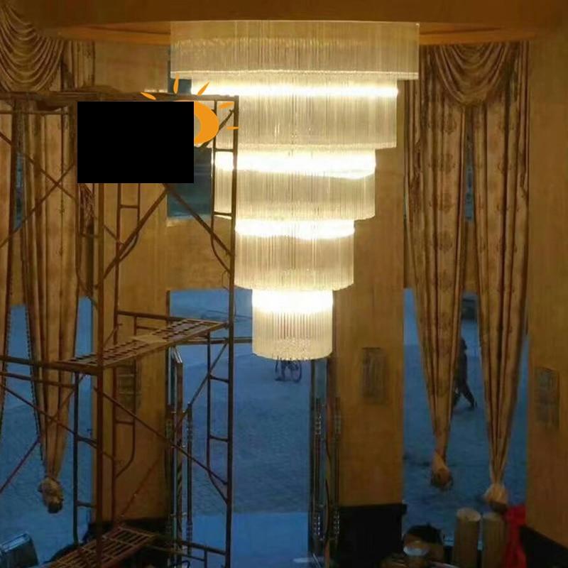 Villa Duplex Light Aisle Crystal Light Hotel Lobby Ceiling Lighting Restaurant Hotel Banquet Hall led lighting fixture large led