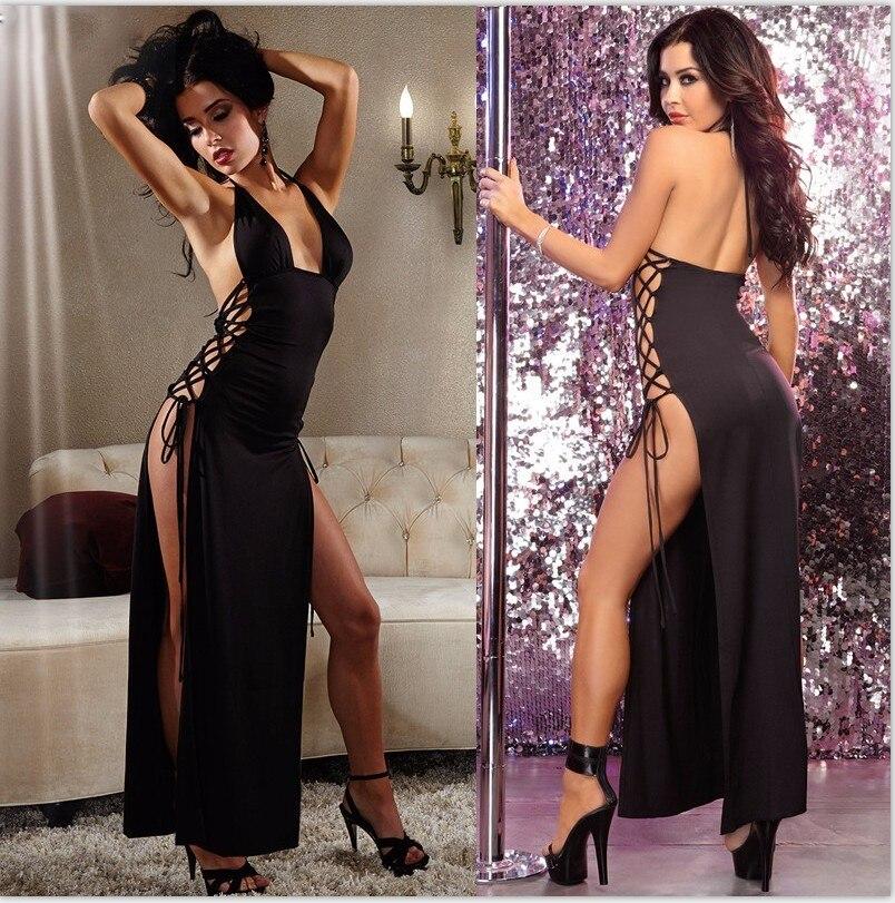 2017 Nuovo Arrivo Sexy Lingerie Hot Nero Esposto Petto Halter Abito Lungo Allacciatura Backless Split Sexy Costumi Lingerie Erotica