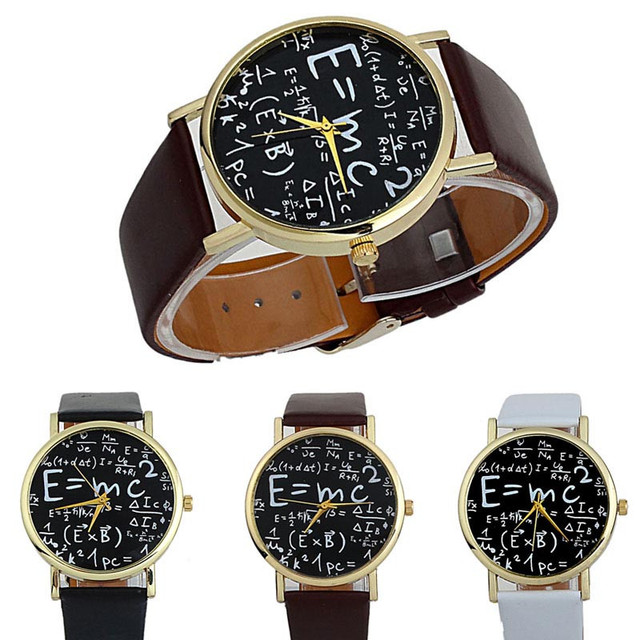 New Luxury Women Watch Math Symbols Faux Leather Women Analog Quartz Wrist Watch