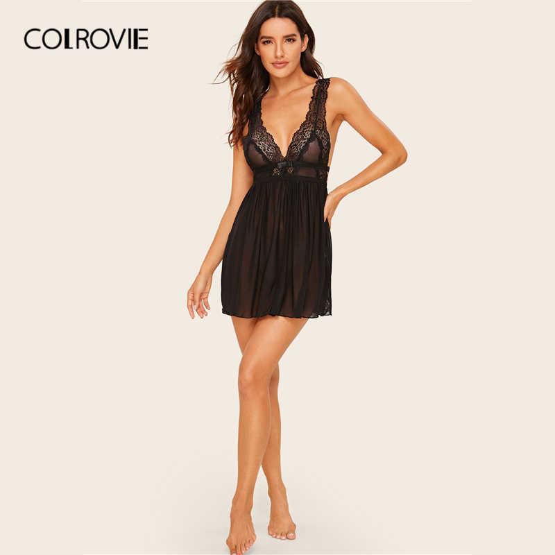 COLROVIE Черное контрастное кружевное Плиссированное Прозрачное платье для женщин с глубоким v-образным вырезом Babydolls 2019 Лето Без Рукавов однотонное сексуальное ночное белье