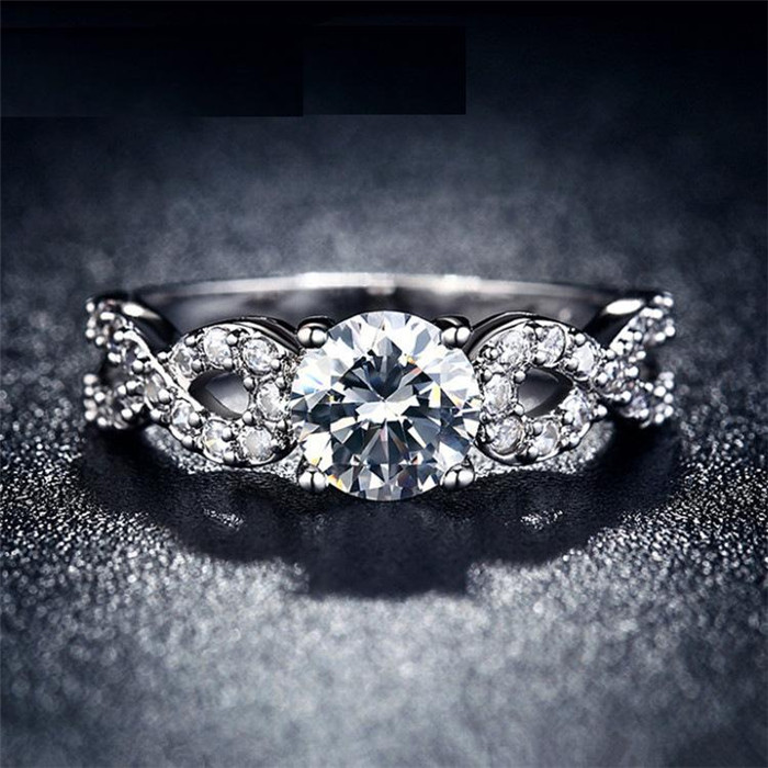 H:HYDE Hot Sale Silver Color Wedding Rings for Women Brilliant CZ Nice Engagement Jewelry Bijoux Anel Best Gifts
