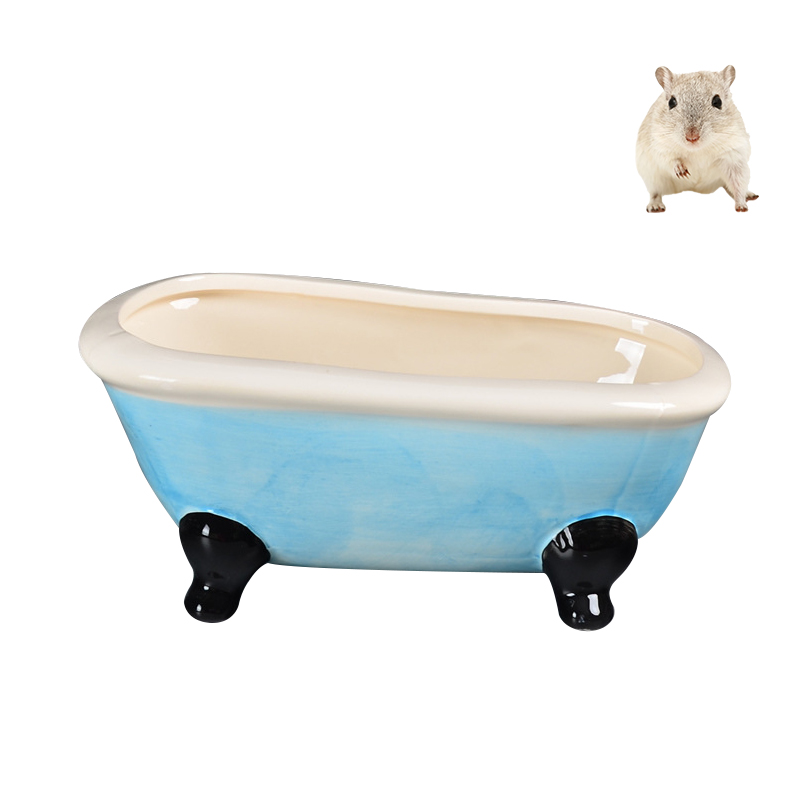 Petacc Ceramic Hamster Bathtub Luxury Hamsters Bath Tub Summer Pet Cooling Tubs for Hamster and Squirrels