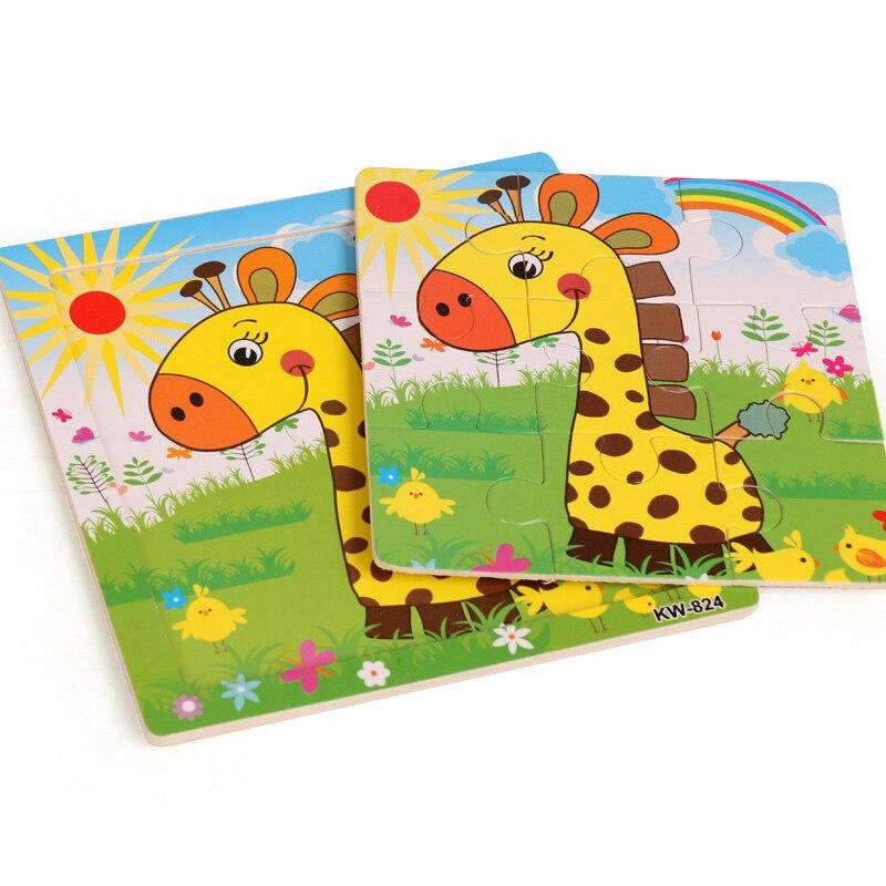 30 cm bébé jouets Montessori en bois Puzzle/main saisir conseil ensemble éducatif en bois jouet bande dessinée véhicule/Animal marin Puzzle enfant - 3