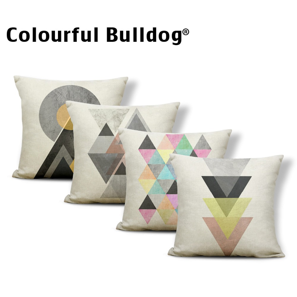 Geometry Cushion Cover Yellow Pillow Cushion Case Black Fairy Table Couch Baby Birth Gifts Toss Pillow Small Polyester / Cotton