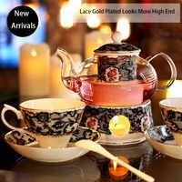 600 ml Ren Vàng Mạ Thủy Tinh Chịu Nhiệt Xương Gốm Trung Quốc trà Pot với Bộ Lọc Ấm Lò Bếp Hoa Trà Đen ấm trà