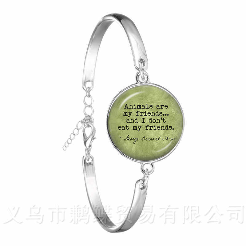 """Animals Are My Friends, And I Don't Eat My Friends""""Jesus Glass Cabochon Bible Bracelet Gift For Vegan FriendsS piritual Bang"