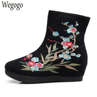 Winter Women Boots Floral Embroidered Canvas Ladies Zipper Soft Elegant National Black Red Cloth Boot Warm