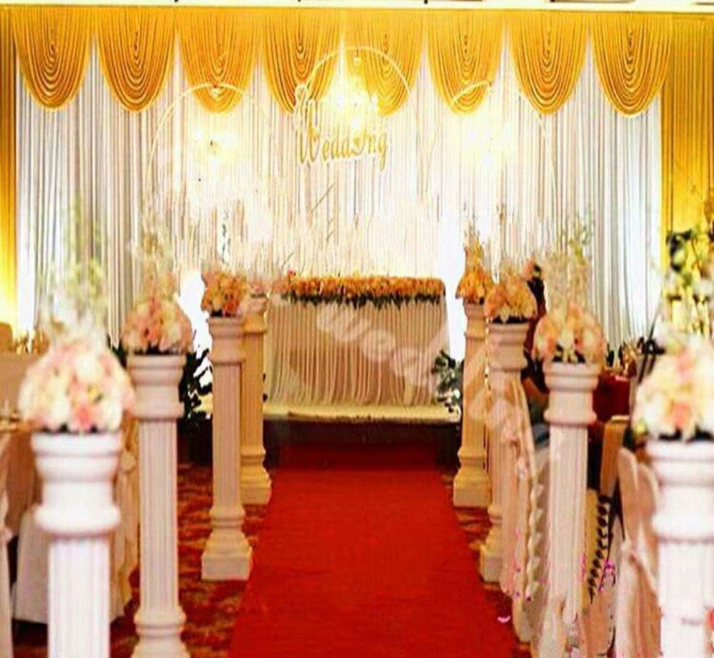 Gold Wedding Swag Backdrop White Wedding Decoration Party Curtains 10FTX20FT