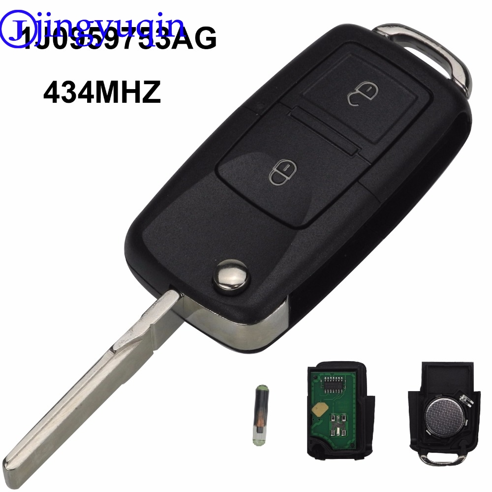 jingyuqin Remote Car Key Case Cover 2 Buttons ASK IJ0959763AG 434mhz Chip ID48 For Vw VOLKSWAGEN MK4 Seat Altea Alhambra Ibiza