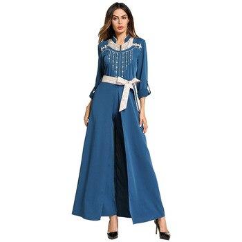 #185799 Muslim Ramadan Fashion Embroidered Robe Splicing Euramerica Middle East Women's Robe Split Large Pendulum-shaped Dresses