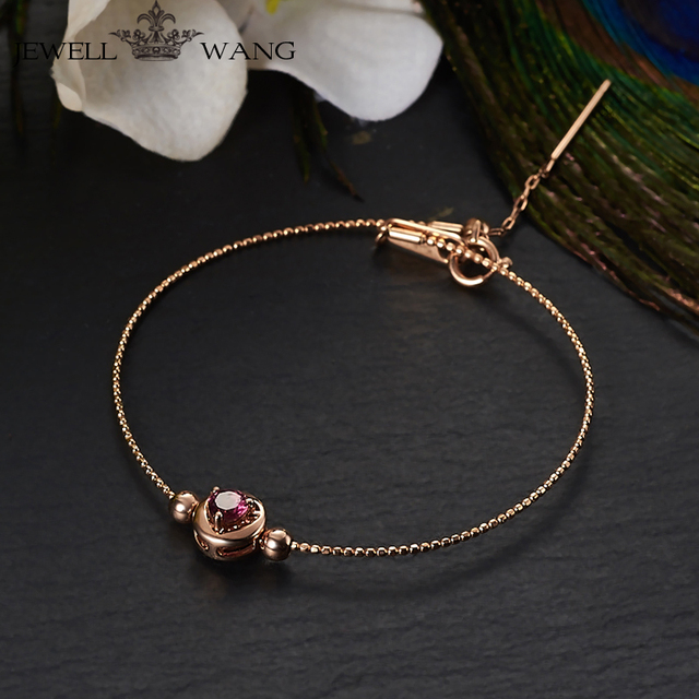 JEWELLWANG Natural Rubellite Bracelet 18K Rose Gold Genuine Women Bracelet New Light Luxury Gift for Women Fine Jewelry Romantic
