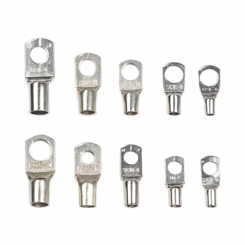 Juego de 10 Uds. De conectores de anillo de alambre SC6-6/8 SC10-6/8/SC16-6 /8, terminal de tubo de cobre estañado con orificio para perno, conjunto de terminales de Cable de batería
