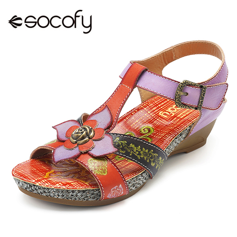Socofy Retro Genuine Leather Shoes Woman Vintage Bohemian Sandals Hook Loop Buckle Wedge Heel Beach Sandals Summer Women Shoes socofy bohemian genuine leather shoes women sandals vintage printing forest hook loop wedge heel women slippers summer new