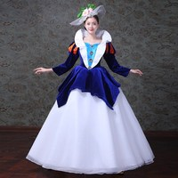 Renaissance Princess Colonial Period Floral Dress Ball Gown Theater Costume
