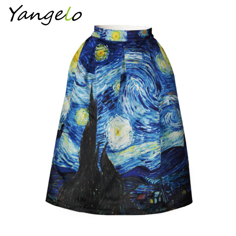 2019 New Skirts Vintage Van Gogh Starry Sky Oil Painting 3D Digital Print High Waist Skirt Rockabilly Tutu Retro Puff S-XXL