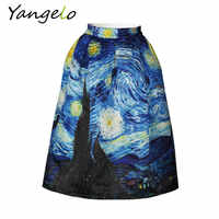 2019 New Skirts Vintage Van Gogh Starry Sky Oil Painting 3D Digital Print High Waist Skirt Rockabilly Tutu Retro Puff S-XXL