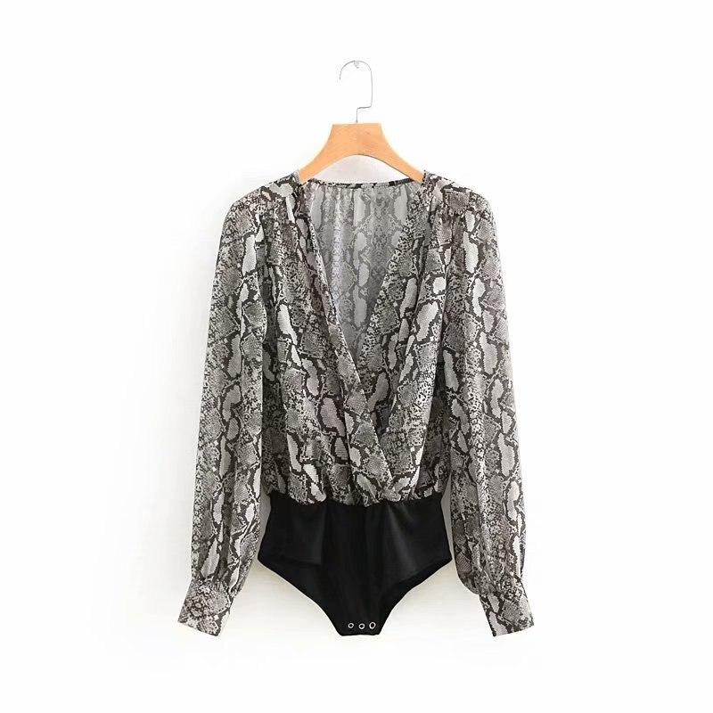 Women Retro Sexy Cross V Neck Snake Print Slim Bodysuit Shirt Casual Long Sleeve Siamese Blouse Playsuits Feminina Blusas Ls2626