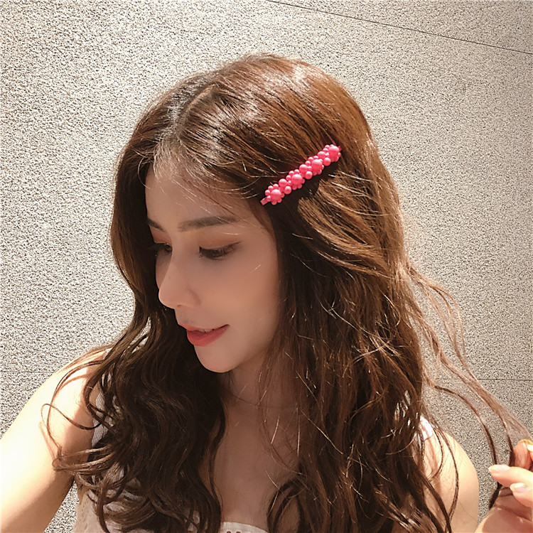 Купить с кэшбэком 1PCS Girls Pearl Hair Clip Fashion Candy Color Hairclip Barrette Stick Women Hair Pins Bobby Hair Accessories Elegant Hairpin