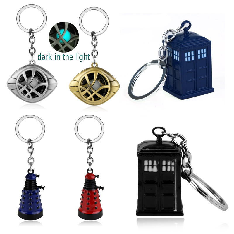 Doctor Who Keychain Strange Eye Of Agamotto Key Chain TARDIS Key Rings For Gift Chaveiro Car Key Ring Jewelry Movie Trinket