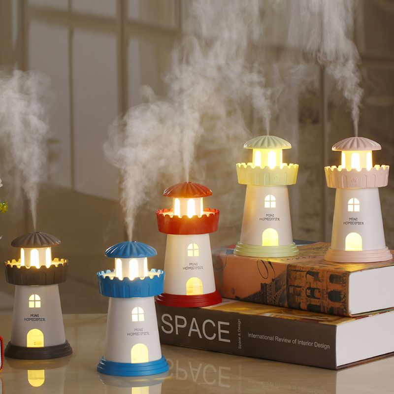 Free_on 1PC Lighthouse Air Humidifier Kit Mini Aroma Essential Oil Diffuser with LED Light Home Office Decor Mist Maker 5 Colors|Humidifiers|   - AliExpress