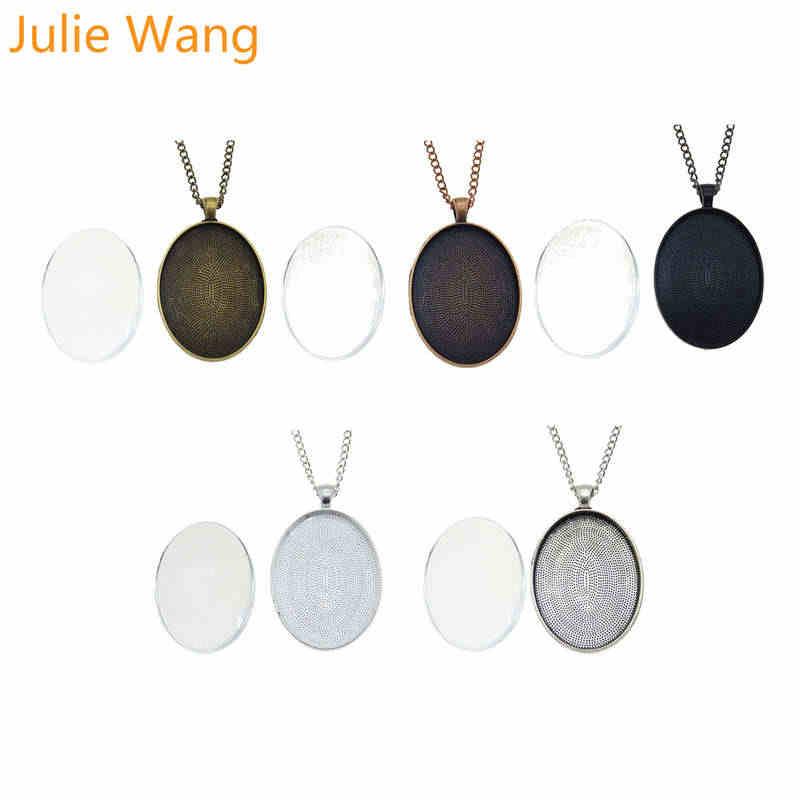 Julie Wang 5 комплектов ожерелье мемориальная семейная фотография Смешанная установка заготовка с плоской гранью стеклянный кабошон для кулона цепь ювелирные изделия для мужчин и женщин