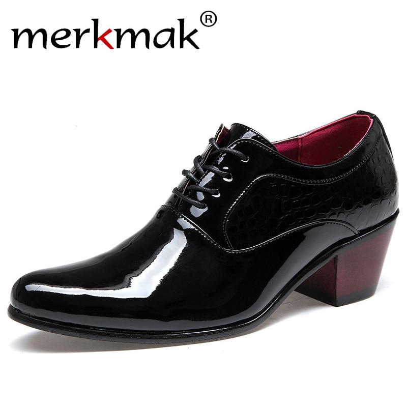 7ade21065 Merkmak Luxo Homens Se Vestem Sapatos de Casamento Patente Brilhante Couro  Heighten 6 cm sapatos de