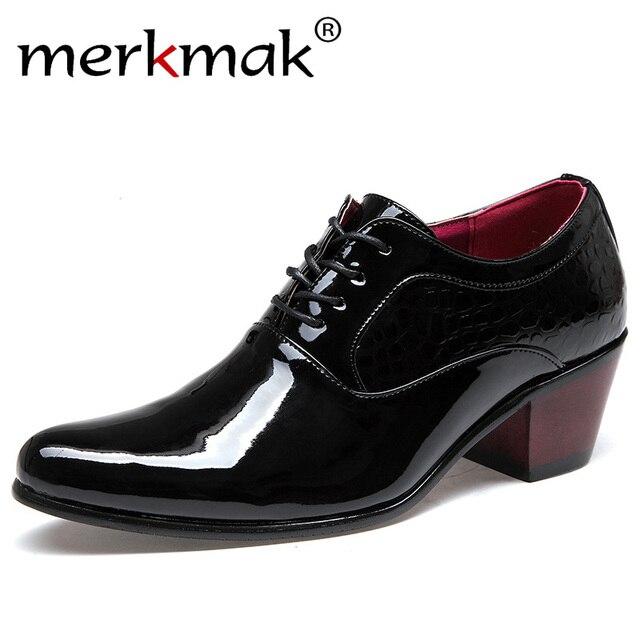 Merkmak 高級男性ドレス結婚式の靴パテント光沢のある革 6 センチハイヒールファッションポインテッドトゥ高揚オックスフォード靴パーティーウエディング