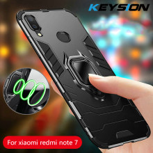 KEYSION Ring Holder Phone Case for Xiaomi Redmi Note 7 Pro 6 5 luxury Anti-knock Bumper Magnetic back cover for Xiaomi Mi 9 SE(China)