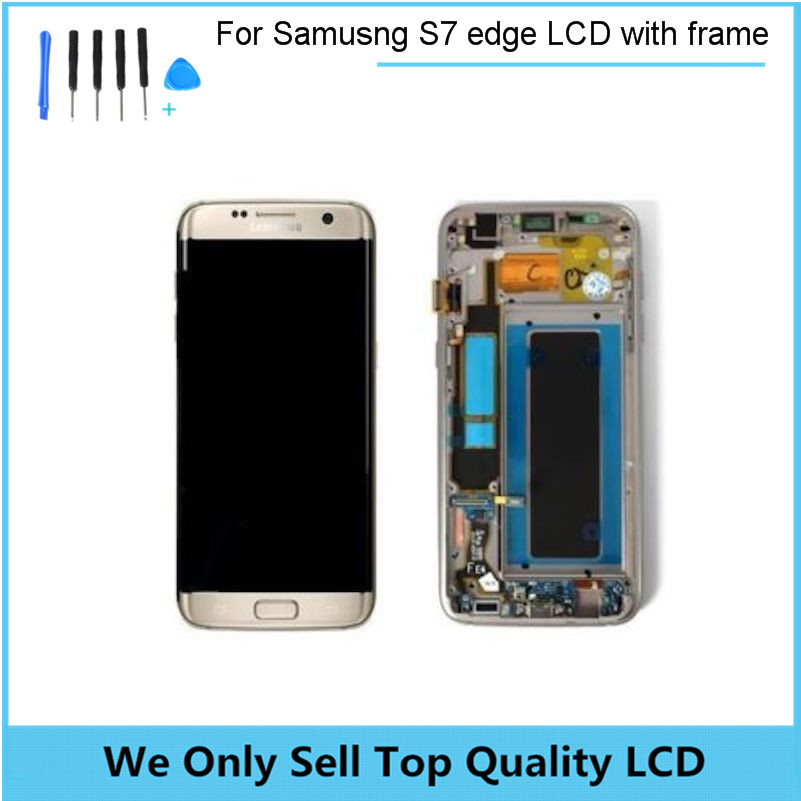 For SAMSUNG GALAXY S7 EDGE G935 G935F LCD Display Touch Screen Digitizer Assembly with frame bezel For S7 Edge lcd with Tools lcd display touch screen digitizer assembly with frame bezel for samsung galaxy s2 i9100 white 1pc lot free shipping