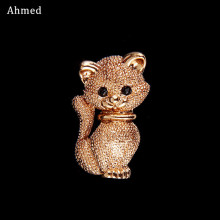 Ahmed Fashion Cute Little Gold Katt Brosjer Pin Up Smykker For Kvinner Skjerf Suit Klipp Corsages Brand Bijoux Brooch Bijouterie