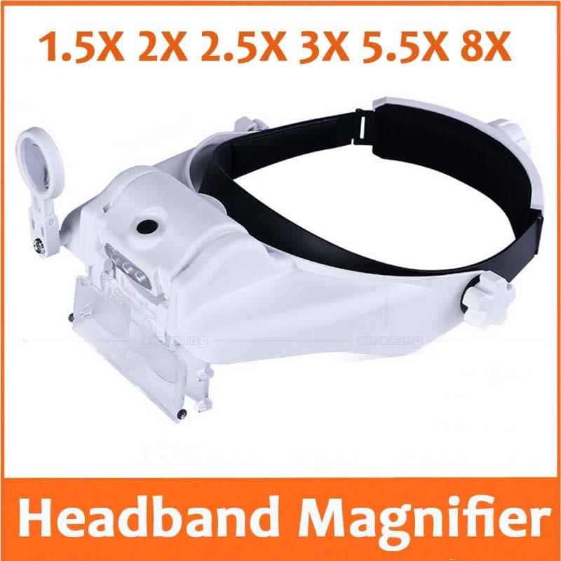 1.5X 2X 2.5X 3X 5.5X 8X LED éclairage bandeau loupe casque loupe tête visière dentaire chirurgical téléphone réparation outil