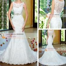 Scoop Neckline See Through Back Lace Wedding Dress With Beading New Mermaid Bride Dress Vestido De