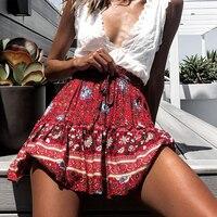 Летняя стильная повседневная женская пляжная мини-юбка boho 2019 Женская богемная модная юбка с цветочным принтом женские юбки