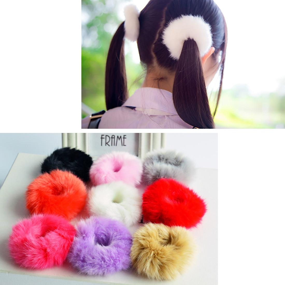 Cute Trendy Soft Women Girls Fake Rabbit Fur Elastic Hair Bands
