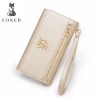 FOXER Women Long Wallets with Wristle Female Luxury Purse Women's Leather Clutch Bags Credit Card Bag & Cellphone Bag for Lady