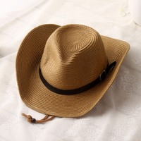 Summer New West Cowboy Sunhat Wide Large Brim Men Straw Hats Summer Casual Beach Hat