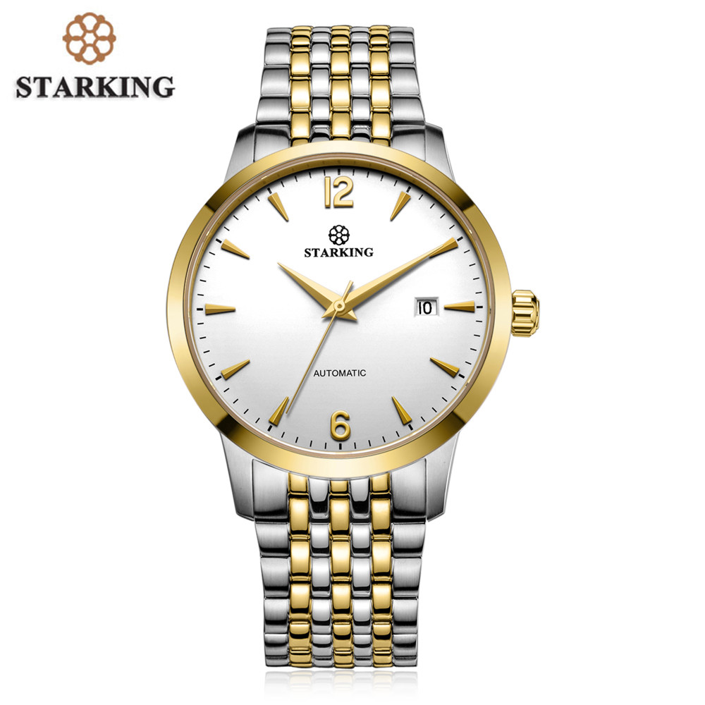 Automatic Watches STARKING Luxury Men Tourbillon Mechanical Watch Gold Clock Stainless Steel Casual Wristwatch relojes hombre hollow brand luxury binger wristwatch gold stainless steel casual personality trend automatic watch men orologi hot sale watches
