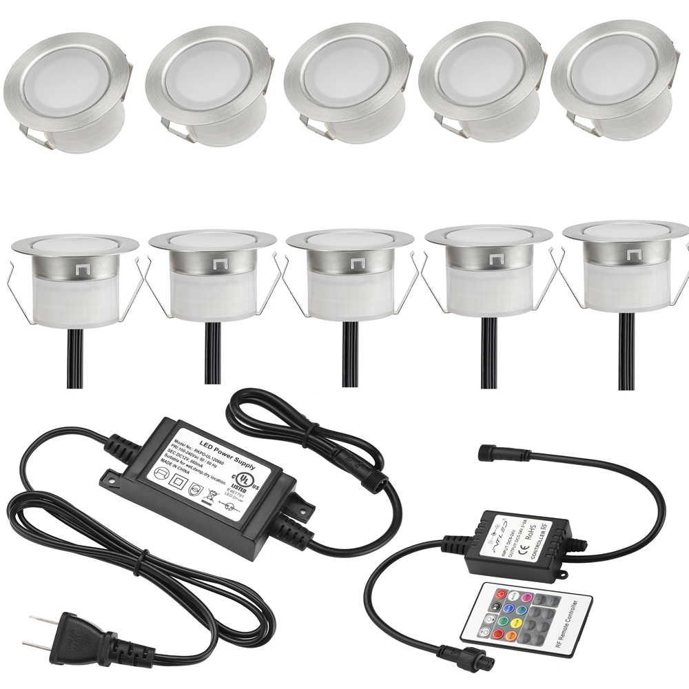 FVTLED RGB 10pieces Waterproof LED Recessed Floor Wall Step Lamps Patio Paver Plinth Out ...