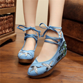 Pine crane live Sequins embroidery China's wind Old Beijing beef tendon Wedge cloth  women's shoes