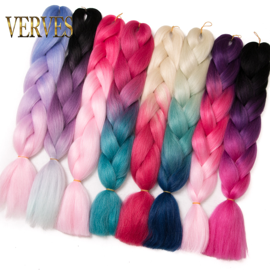 VERVES 5 Piece/lot Synthetic Two Tone High Temperature Fiber Ombre Braiding Hair 24 Inch Jumbo Braids Hair Extensions